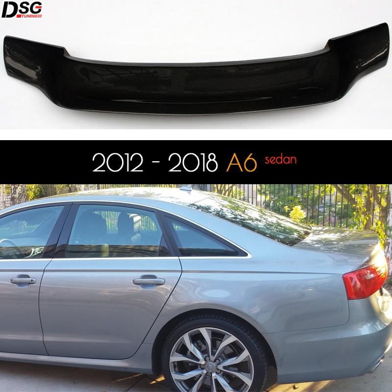 Real fibra de carbono traseiro tronco spoiler ducktail deck asa para audi a6 c7 (2012 - 2018) 4-door sedan