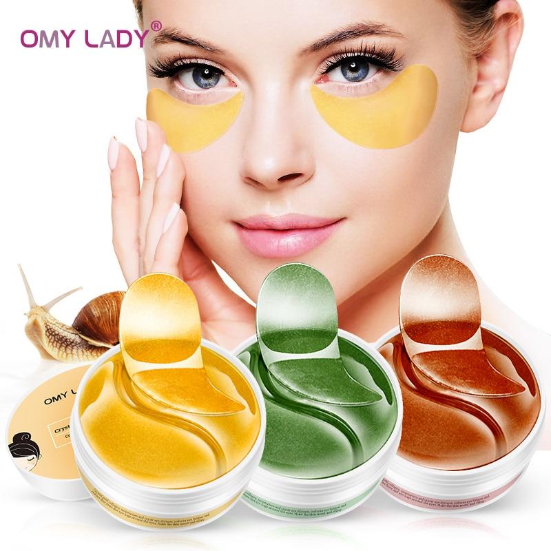 OMY LADY 60pcs Eye Mask Collagen Eye Patch Remove Dark Circle Eye Bag Moisturizing Essence Eye Patches Anti Wrinkle Gel Eye Care