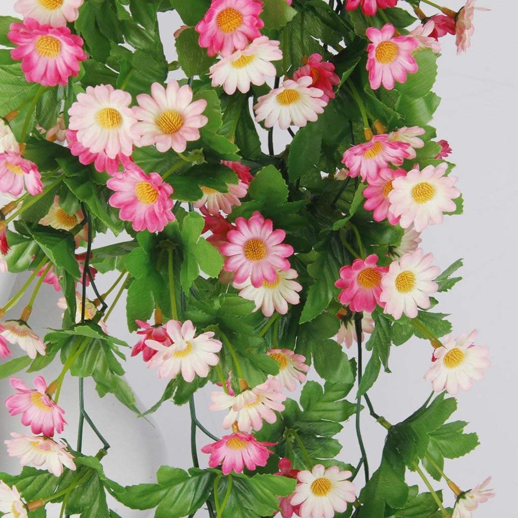Искусственный цветок ромашка свадебный Декор Искусственный шелк цветок лозы подвесной ротанговый невесты цветы гирлянда для дома сад отел...