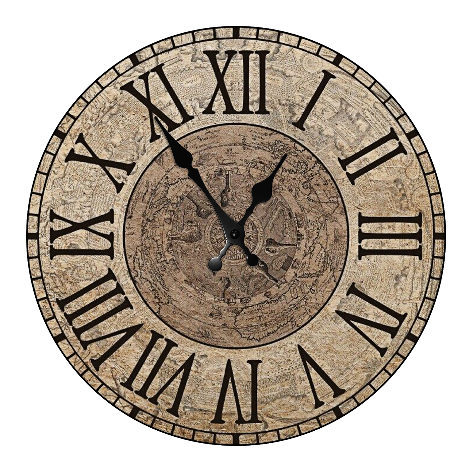 Antique Wooden Wall Clock Decorative for living Room European Style Silent Non-Ticking Quartz Classic Round Wood Wall Clock eiffel tower round wood analog wall clock