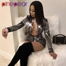 Pinepear glitter diamante manga longa colheita topo e shorts 2 peça conjunto 2020 moda feminina de luxo sexy festa outfits drop shipping