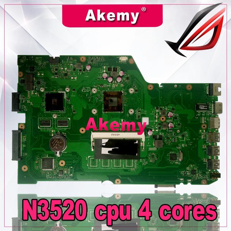 Akemy x751md placa-mãe do portátil para For Asus x751md x751mj x751m k751m teste original mainboard n3520 cpu 4 núcleos 2.167 ghz
