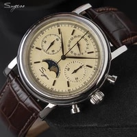 sugess vintage dial sapphire crystal mens watch seagull st1908 hand winding movement mechanical moon phase function watches