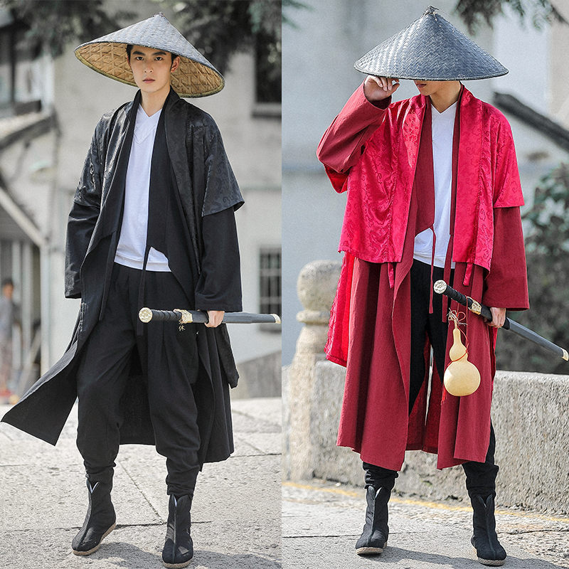 Costume Heroes Film and Television Drama Costumes Chinese Style Robes COS Clothing National Improved Hanfu Knight Robe Men Cloth