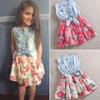 kids girls sleeveless dress summer lovely blue ruffle decoration round neck top stitching peony print fashionable princess skirt