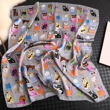 Foulard carré en soie pour femmes   Marque de luxe, nouvelle mode été Foulard de plage en Satin pour femmes chat P, Foulard pour femmes, Hijab, 2020