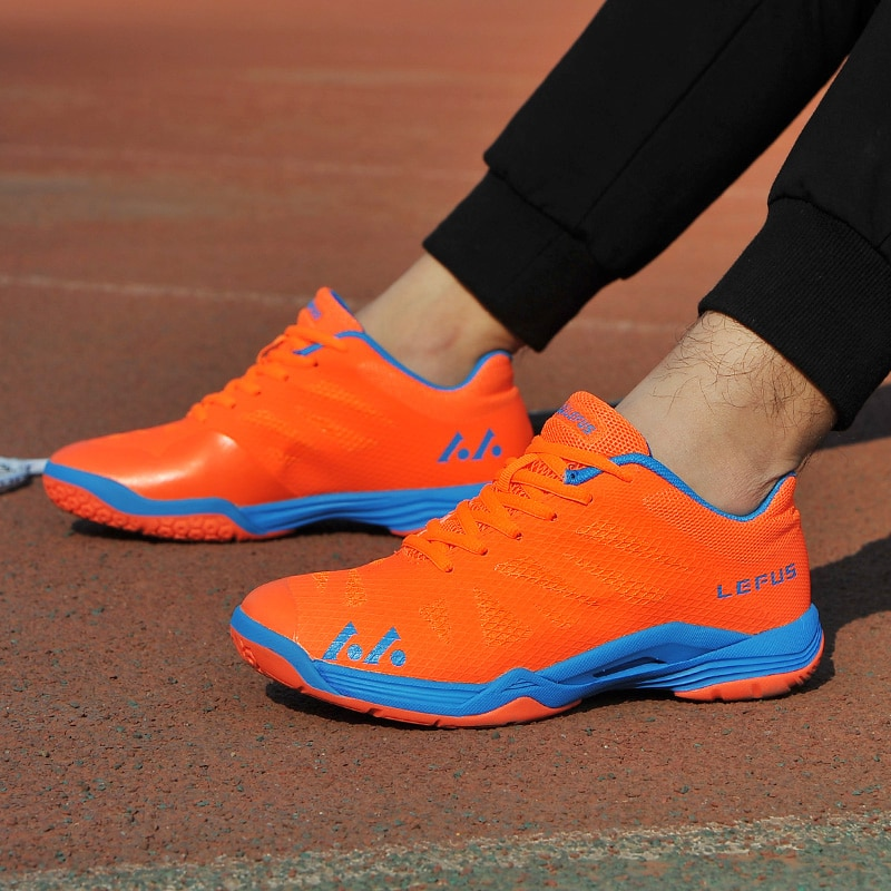 Новинка 2020, брендовая мужская обувь для бадминтона, легкая тренировочная обувь для телячьего мышечного тенниса, черные, оранжевые мужские Нескользящие кроссовки для бадминтона-5