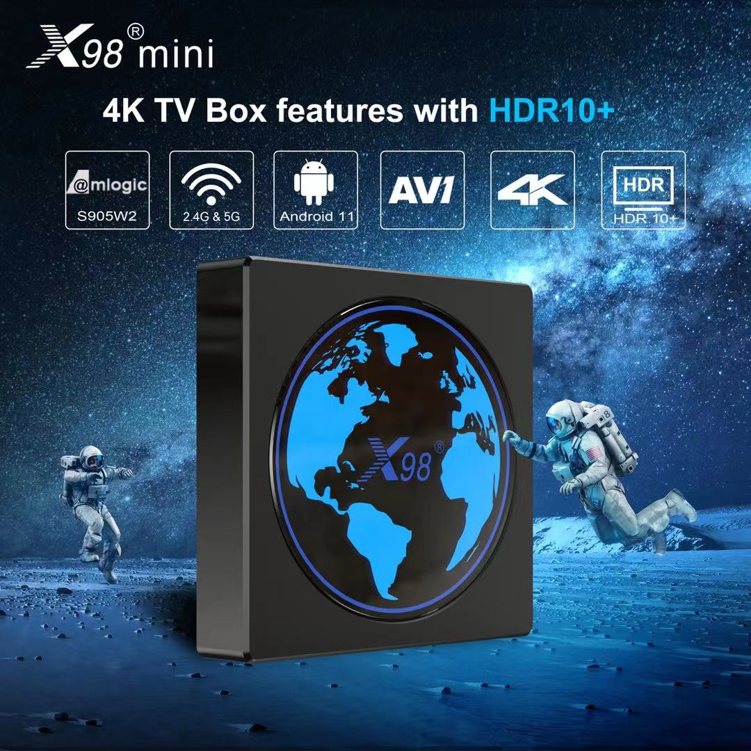 فرنسا X98 صندوق تليفزيون صغير أندرويد 11 Amlogic S905W2 4G 64GB دعم H.265 AV1 واي فاي يوتيوب مشغل الوسائط 4GB 32GB مجموعة صندوق X98mini
