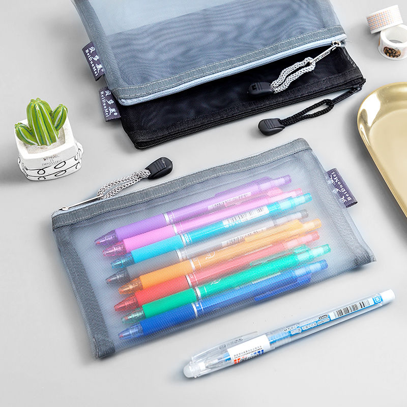 simple black pencil student school pen environmental plastic shell hb pencil learning office stationery supplies Transparent Nylon Pencil Bag Zipper Pen Case Pouch Stationery Student Large Capacity Office School Supplies Pink Black BLue