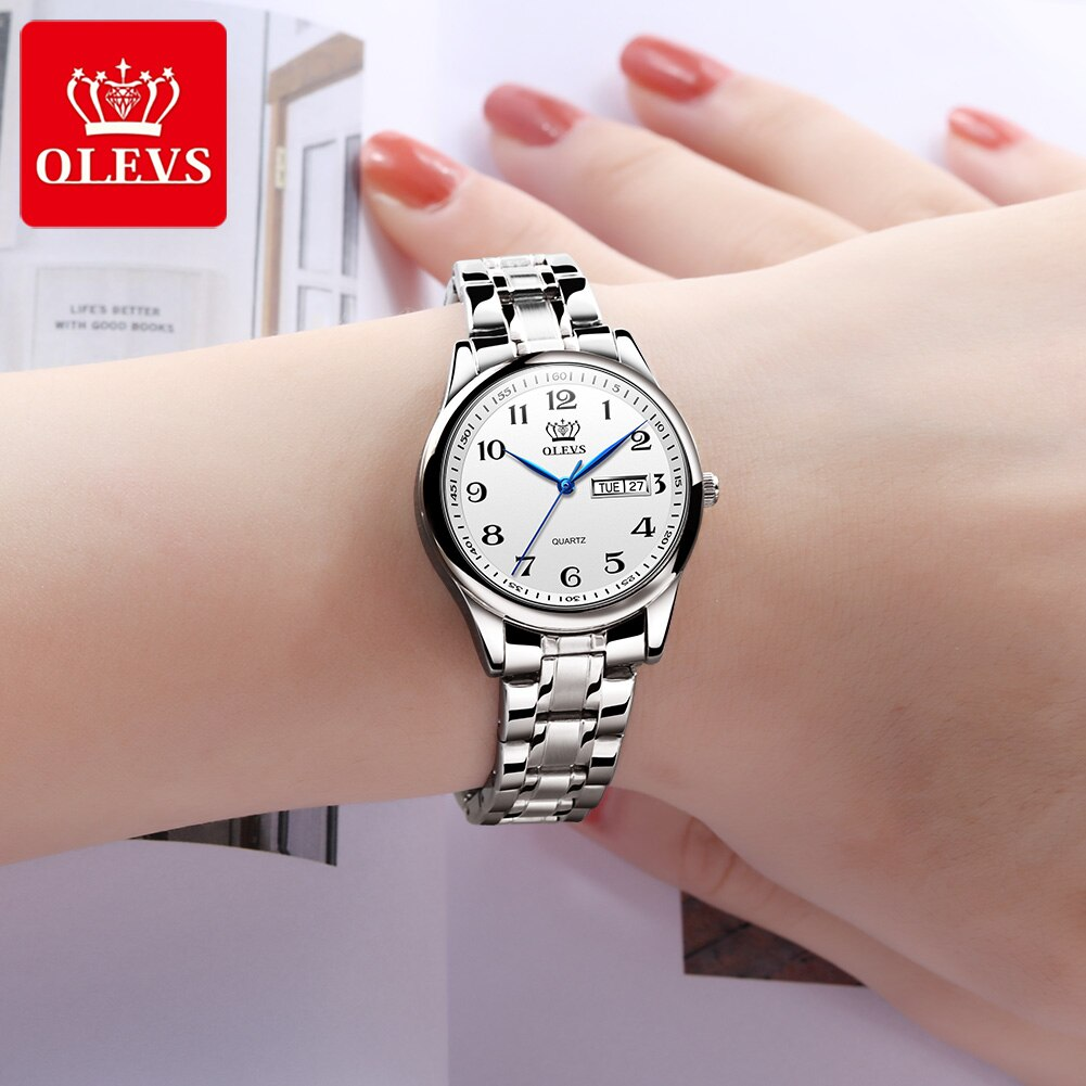 OlEVS Casual Women Men Arabic Numerals Quartz Watches Luxury Fashion  Stainless Steel Couple Wristwatch Waterproof for Lady 5567 enlarge
