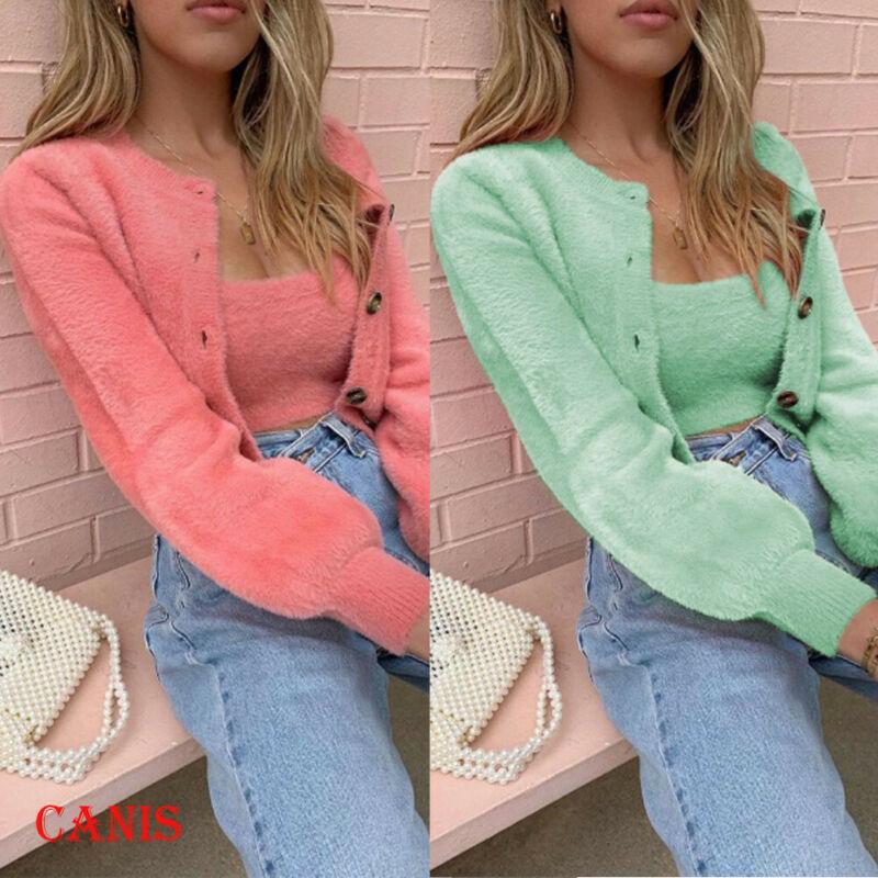 Plus size womens casual manga longa malha cardigan fofo camisola botão sólido casaco moda outono quente 2 pcs camisa topos jaqueta