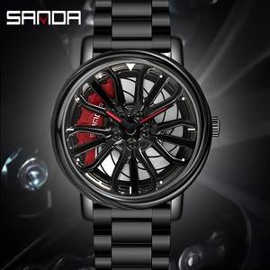 Rim Watch Creative Wristwatch Racing Wheel Hub Sports Waterproof Brand Men's Watches Black Shockproof Fashion Silver Metal Steel