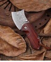 mini folding knife free shipping sharp damascus steel camping tool wood handle outdoor self defense knife