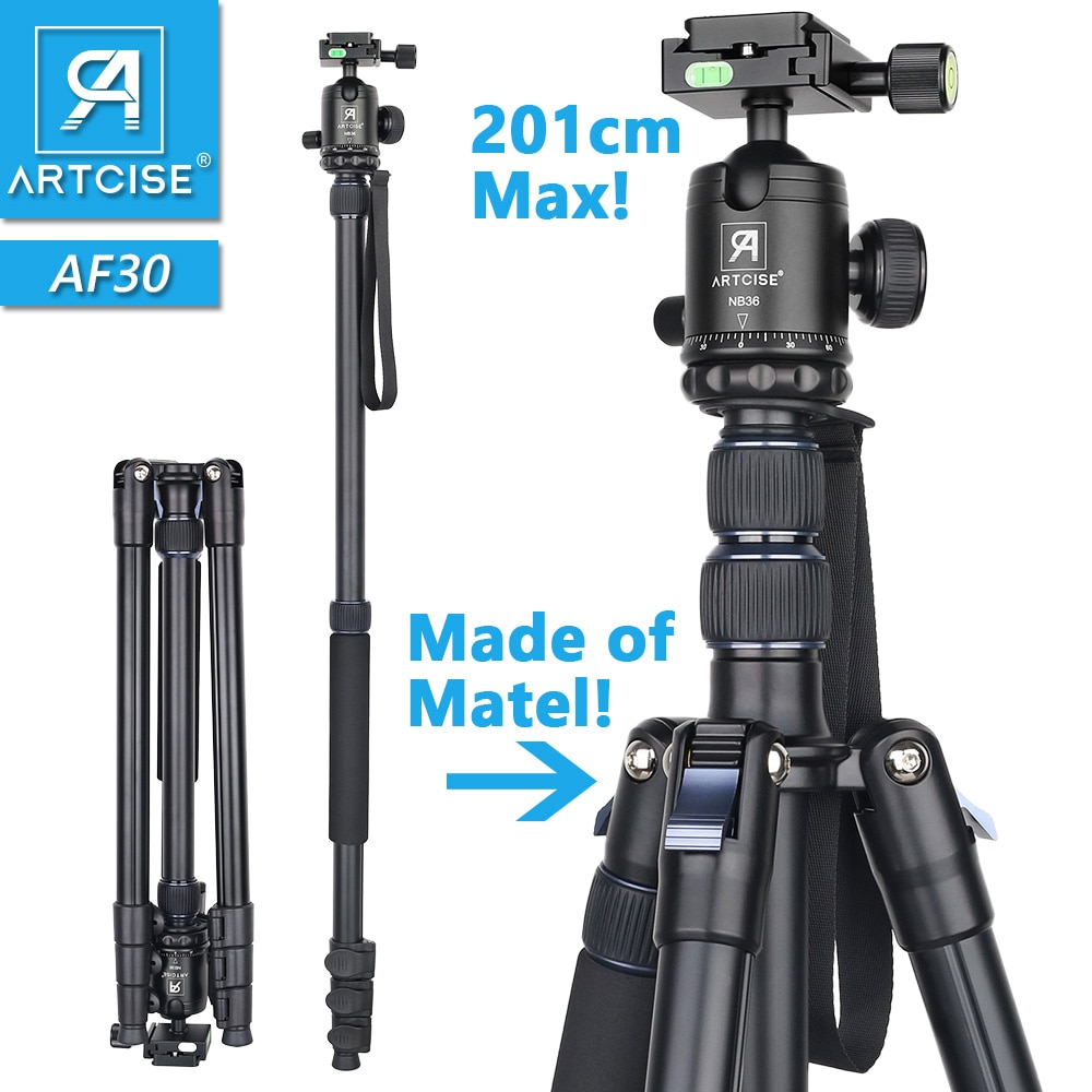 Professional High Tripod 201cm 79in Max Height Monopod Stand For DSLR Camera Fast Flip Lock CNC 36mm Big Ball Head Metal Body innorel rt30 professional aluminum alloy tripod monopod add ball head max height 197cm 77 6in for outdoor camera video recorder