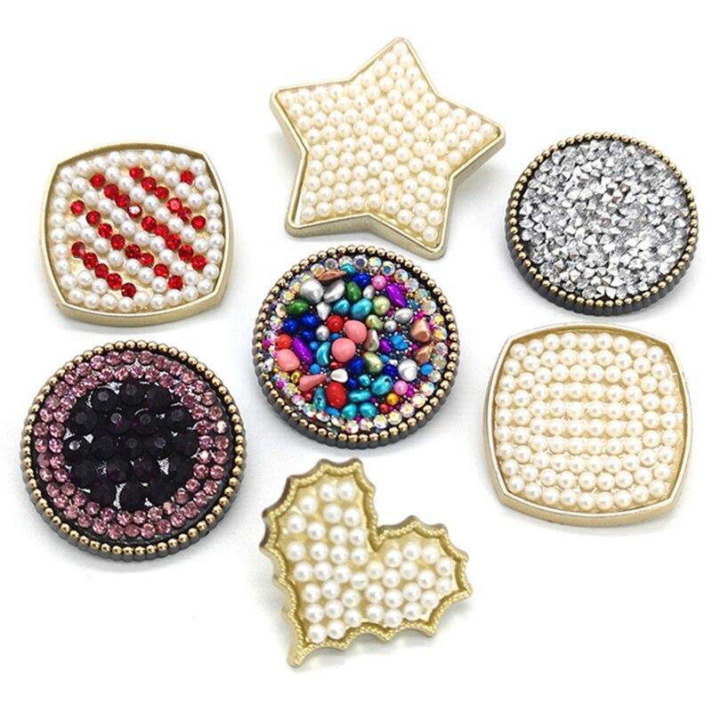 4 unids/lote botones de caña de moda diamantes de imitación botones de plástico joyería DIY accesorios ropa botones de costura