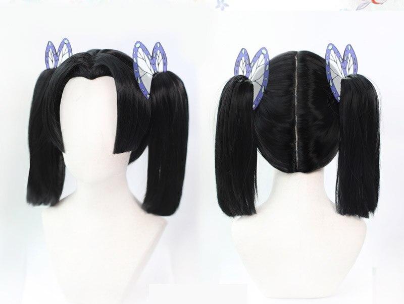 Demônio slayer kimetsu não yaiba kanzaki aoi cosplay perucas de fibra de alta temperatura preto cabelo curto com dois rabos de cavalo + boné de cabelo livre