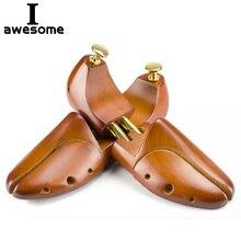 1 paar Guger-baum Einstellbare Schuh Bäume Massivholz männer Schuh Unterstützung Knopf Schuh gestaltung frauen Schuh pflege Keil Shaper