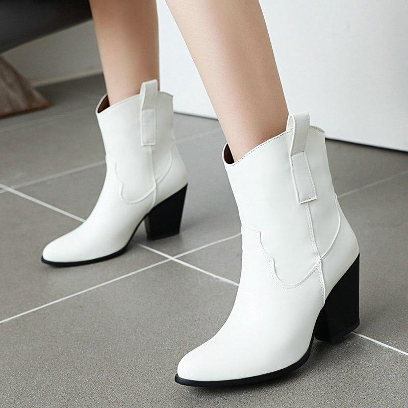 Черные, белые, коричневые женские ботинки, осенние ботильоны на высоком каблуке, зимние плюшевые ковбойские ботинки без шнуровки, 2019