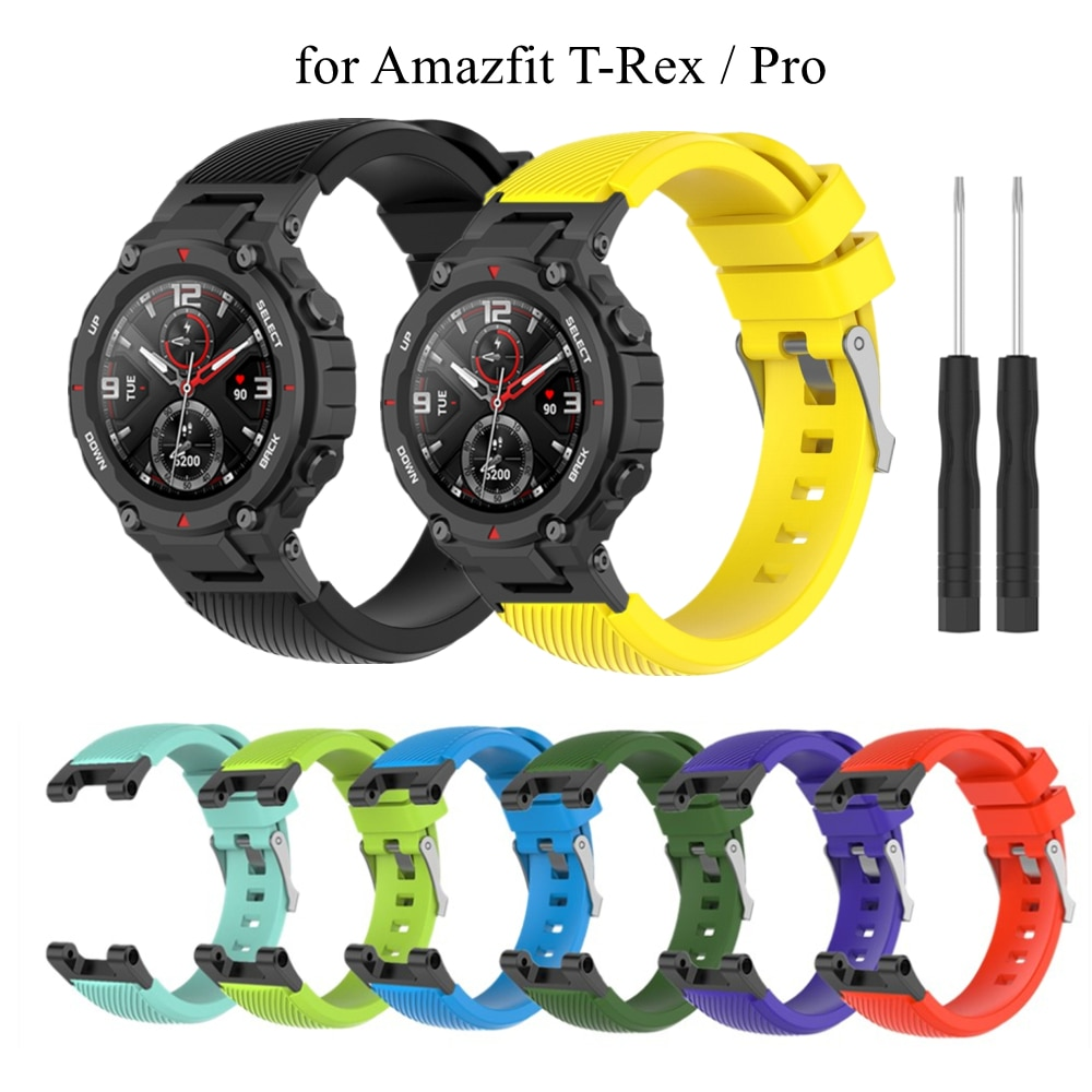 smart watch band for amazfit t rex pro silicone replacement bracelet accessories for amazfit t rex strap watchband with tool Band For Xiaomi Amazfit T-Rex Silicone Soft Wrist Strap Replacement Bracelet For Huami Amazfit T-rex Pro Sport Watch Strap