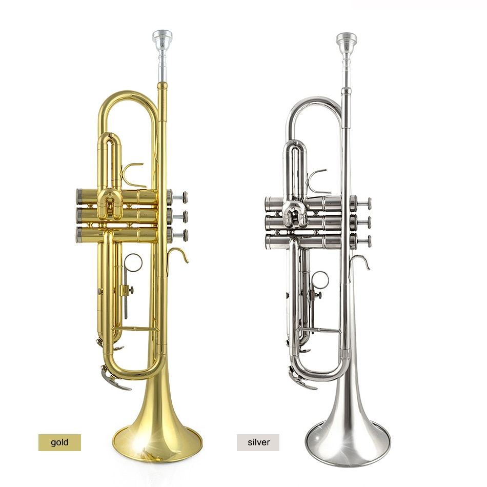 Trompete de Bronze Requintado com Luvas Apartamento Bocal Instrumentos Musicais Jbtr-300 bb