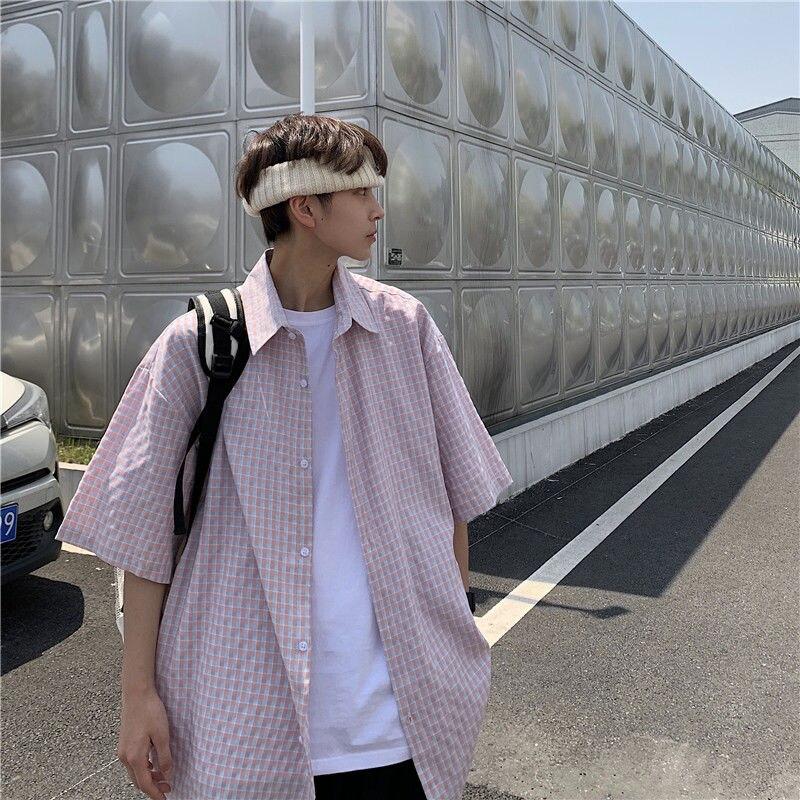 Мужская рубашка в клетку, корейская мода, Свободная Повседневная рубашка, уличная одежда в стиле Харадзюку, универсальная мужская рубашка б...