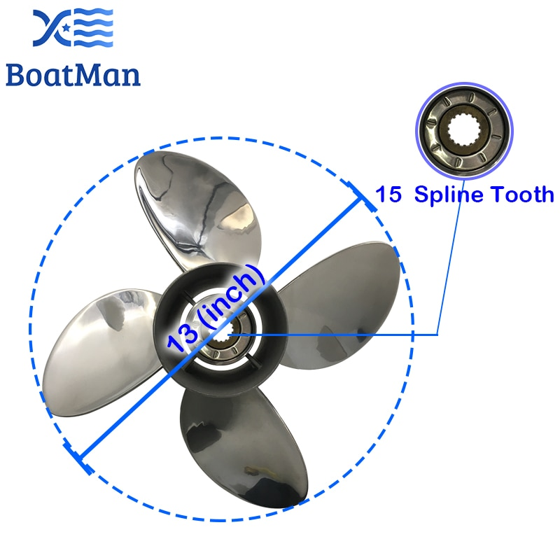 Outboard Propeller 13x19 For Yamaha 50HP 60HP 80HP  85HP 90HP 100HP 130HP Stainless steel 15 splines Boat Parts & Accessories enlarge