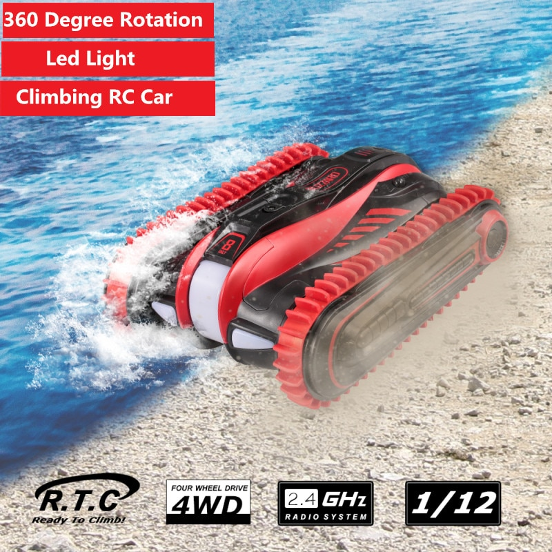 1:12 2.4GHz 4WD Amphibious Stunt RC Car 360 Degrees Rotation Land Water Climb off load crawler Vehicle With led light kid gifts