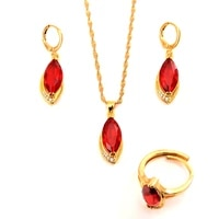 hot sale gold color fashion jewelry sets cubic zircon statement necklace earrings rings wedding jewelry for women gift