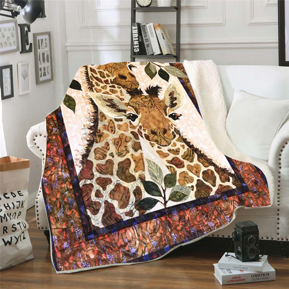 Giraffe 3D Printed Fleece blanket for Picnic Thick Fashionable Bedspread Sherpa Throw Blanket Drop Shipping