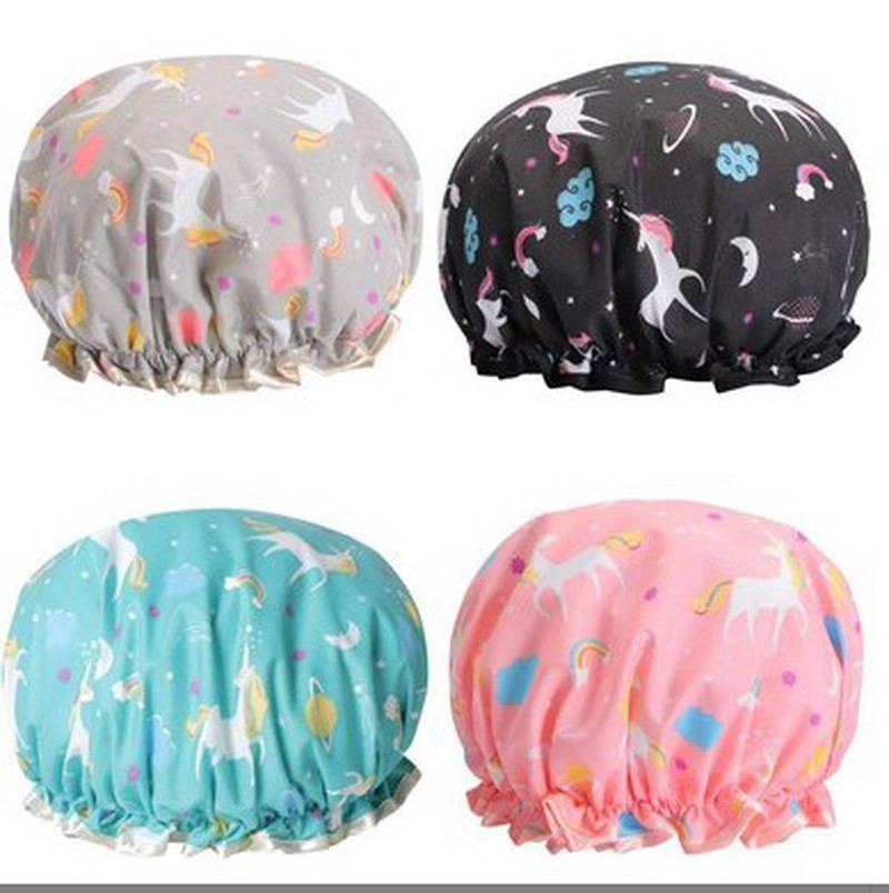 New Unicorn Pony Lovely Thick Women Shower Caps Colorful Double Layer Bath Shower Hair Cover Adults