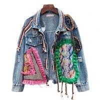 spring women streetwear patch denim bomber jacket female personality short diamonds jacket tassel jean coat jaqueta feminina