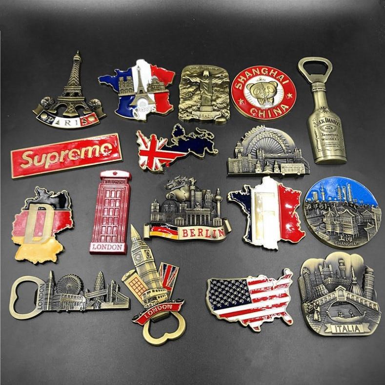 Francia Inglaterra Alemania América Brasil Italia metal magnético nevera botella de goma abridor creativo 3d imanes de nevera Shanghai