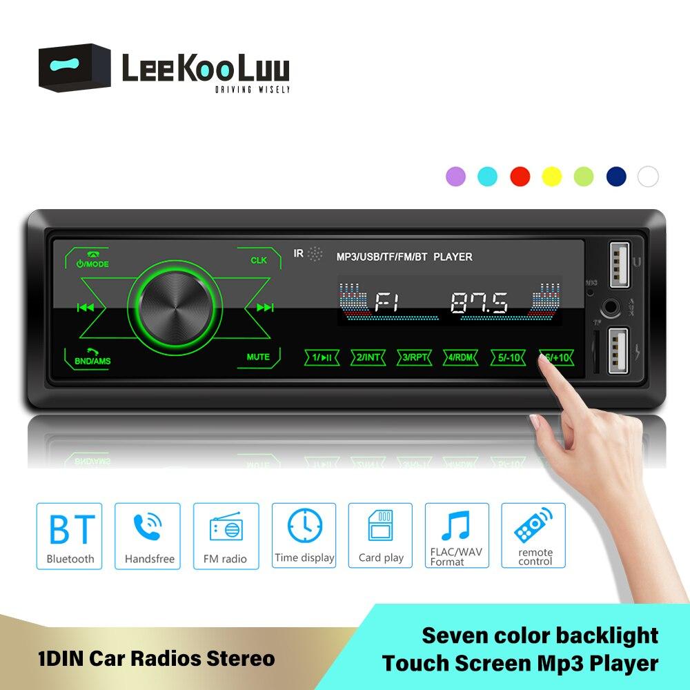 LeeKooLuu 1DIN pantalla táctil en el tablero Radios de coche estéreo Control remoto Digital Bluetooth Audio música estéreo 12V USB FM reproductor de Mp3