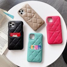 Genuine CC Leather Card Pocket Case For iPhone 13 12 11 Pro Max 8 Plus XR XS Cover Top Quality Phone
