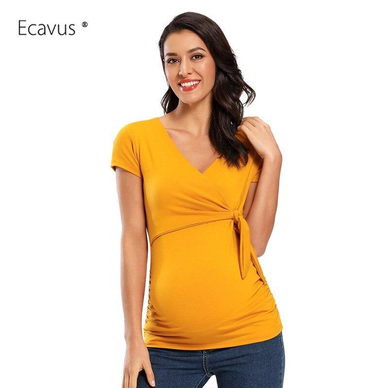 Camisetas premamá de manga corta, camisas informales de verano para mujer, Top envolvente para amamantar lactancia, blusa, corbata en el pecho, ropa de maternidad
