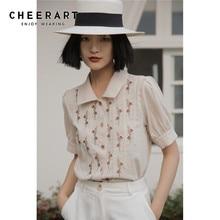 CHEERART Summer Puff Sleeve Top Floral Embroidery Blouse Women Summer Short Sleeve Korean Shirt Ladies Top Vintage Clothing