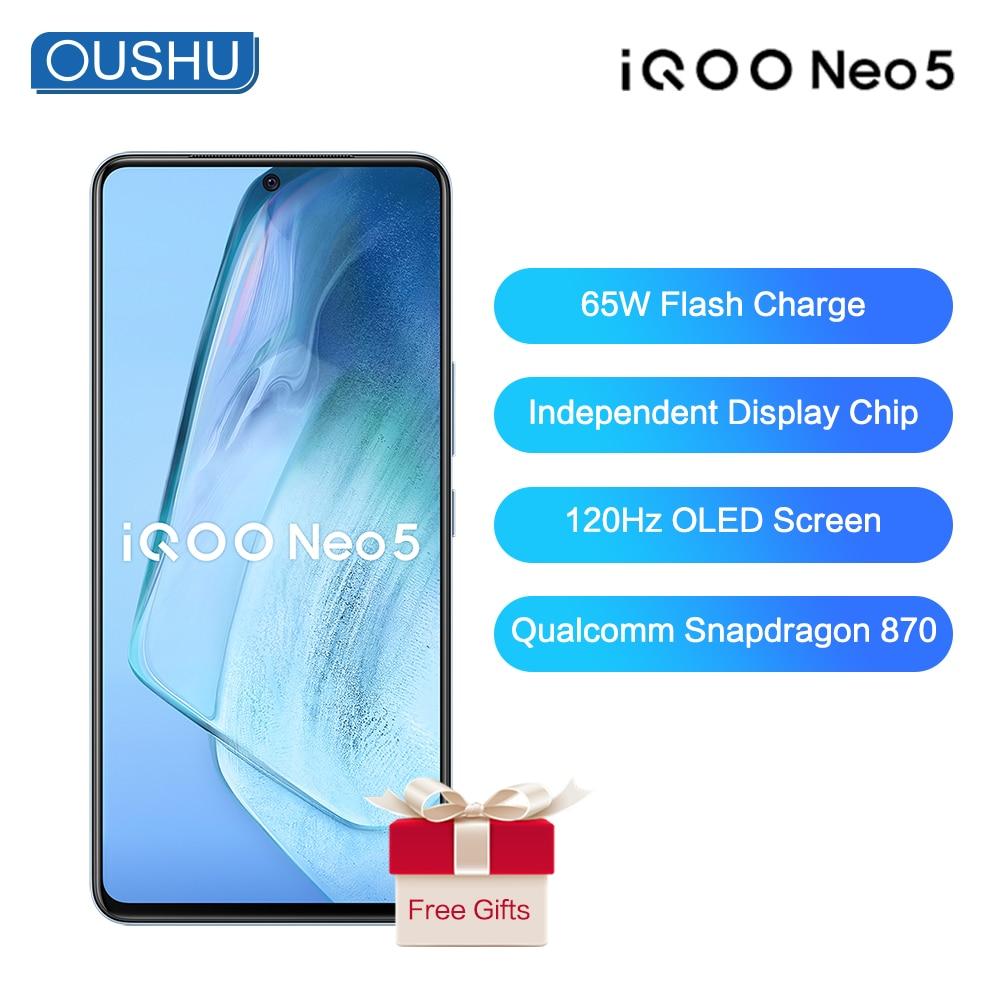 Перейти на Алиэкспресс и купить Новый 5G смартфон IQOO neo 5 Snapdragon 870 66 Вт мгновенная Зарядка для сотового телефона UFS3.1 6,62 ''120Hz OLED гоночный Экран 48MP NFC мобильный телефон