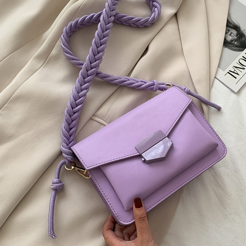 Fashion Small Shoulder Bags for Women Weave Strap Crossbody Flap Messenger Bag Purse Solid Color Female Handbag PU Leather Pouch