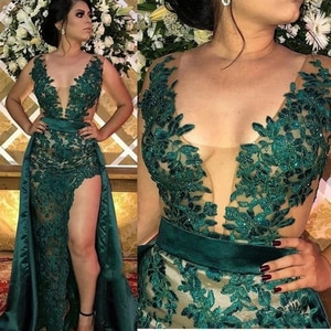 Hunter Green Split Evening Dresses With Detachable Skirt Sheer Illusion Bodice Appliqued Long Arabic Party Gowns Prom Wear