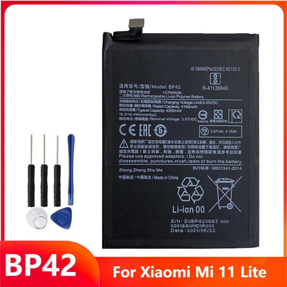 Сменный аккумулятор BP42 для телефона Xiaomi Mi 11 Lite, аккумуляторные батареи 4250 мАч с бесплатными инструментами