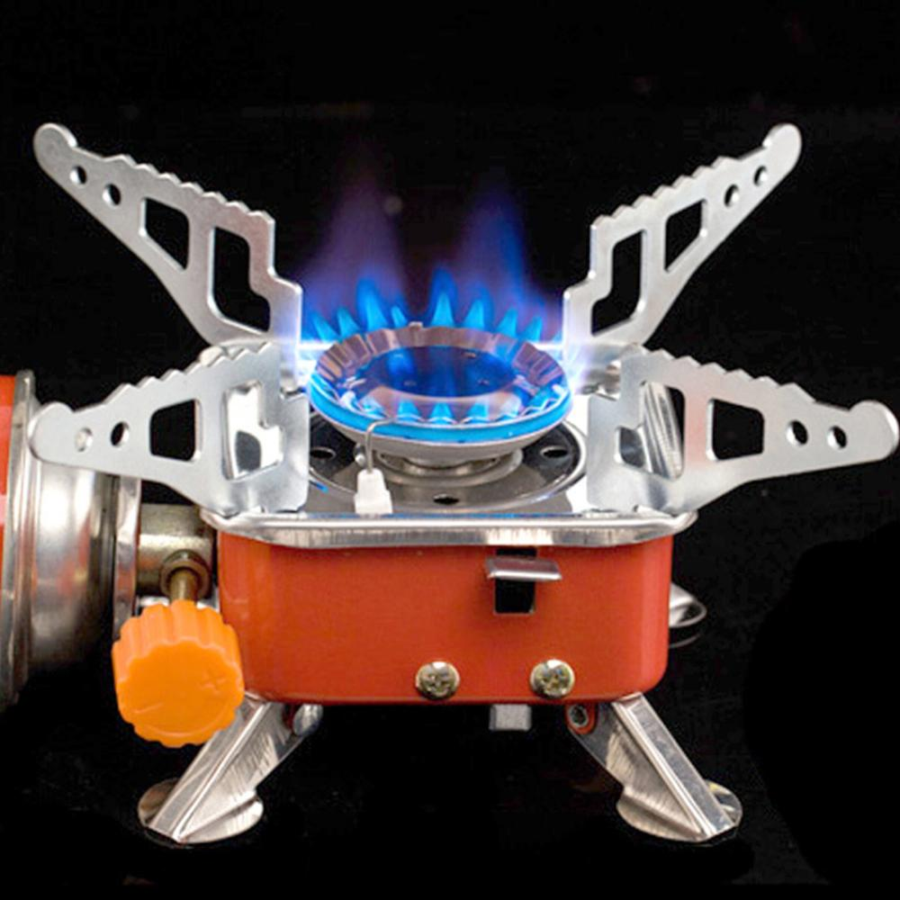 Stainless Steel Foldable Square Cooking Stove Portable Outdoor Camping Combustor Cooker Cookware Tra