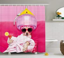 Chihuahua rose tissu imprimé   Chien relaxant et couché en Spa, tendance chiot bande dessinée, ensemble de décor pour salle de bain, Magenta bébé