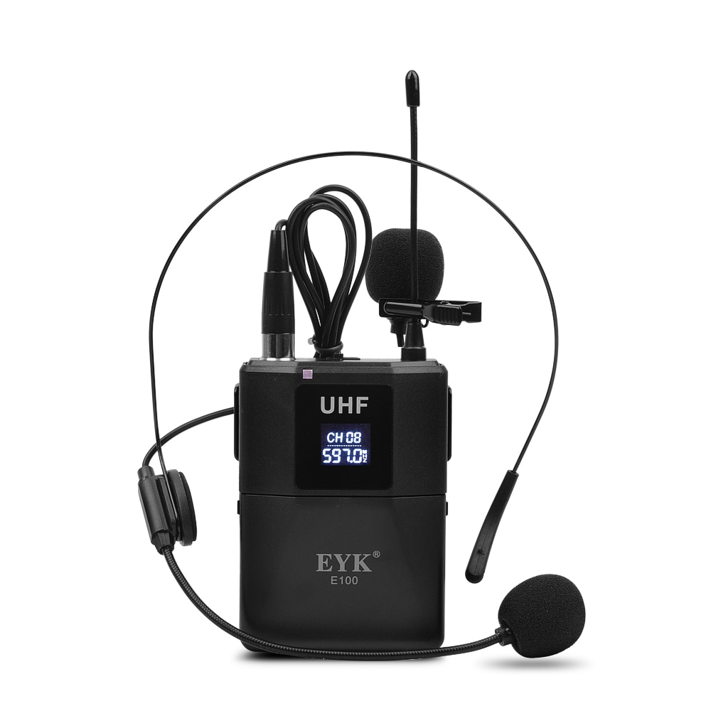EYK E100 UHF Dual Channel Wireless Microphone 2 Bodypack Transmitter with 2 Headset Mic + 2 Lavalier Lapel Mic for Church Speech enlarge