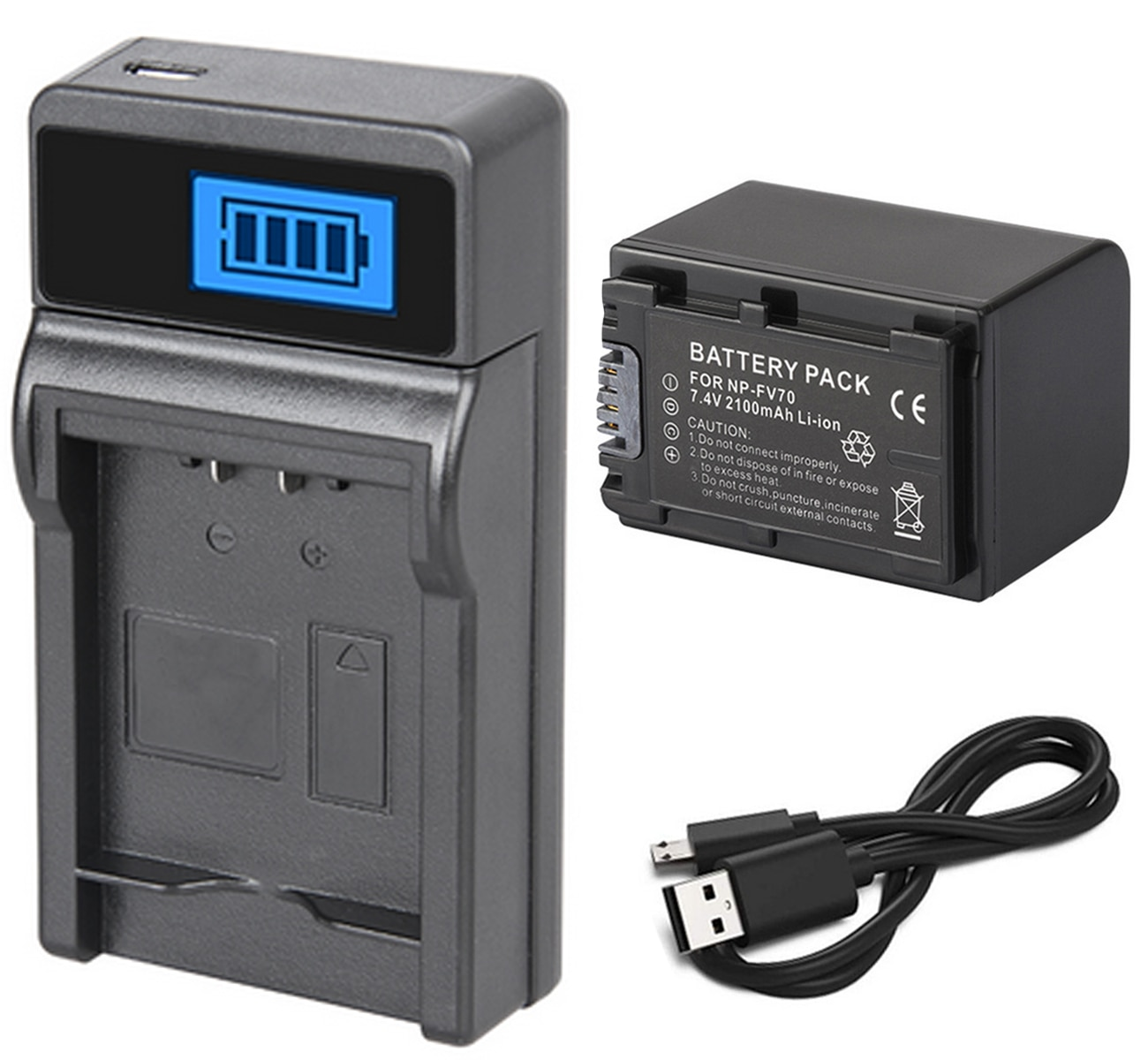 Batterie + chargeur pour Sony Handycam HDR-CX200E, HDR-CX210E, HDR-CX220E, HDR-CX230E, HDR-CX250E, HDR-CX260VE, HDR-CX280E, HDR-CX290E,