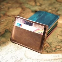 zovyvol unisex simple crazy horse retro mens casual wallet card holder cowhide leather wholesale custom logo thin section purse