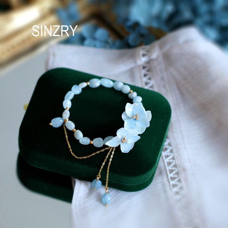 SINZRY original hecho a mano flor real Piedra natural brazaletes con encanto de borlas señora elegante accesorio de joyería de moda