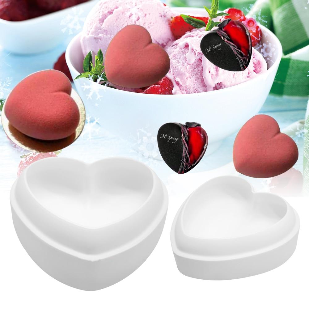 SILICONLOVE 3D Diamond Love Heart Shape Silicone Molds for Baking Sponge Chiffon Mousse Dessert Cake Molds Food Grade