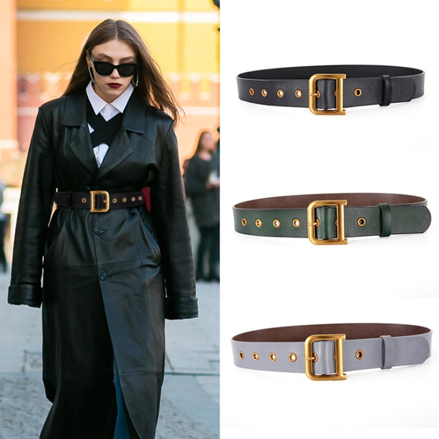 Designer belts for women high quality genuine leather belt luxury brand waist jeans ceinture femme gold D buckle cummerbunds