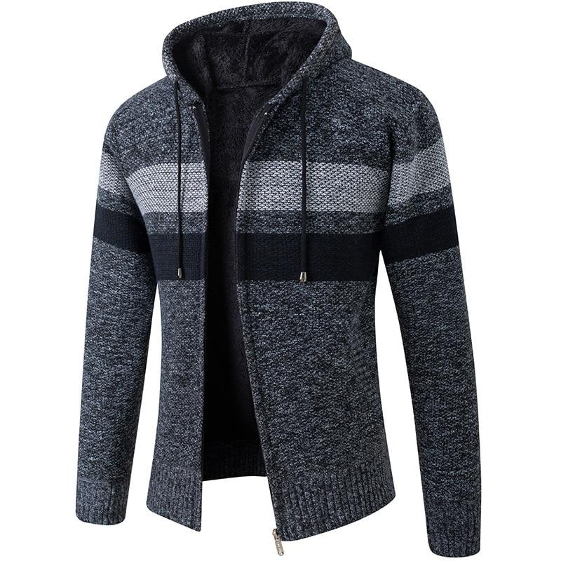Зимние кардиганы, мужские повседневные флисовые теплые свитера с воротником с капюшоном, пальто, мужской толстый полосатый кардиган в стил...