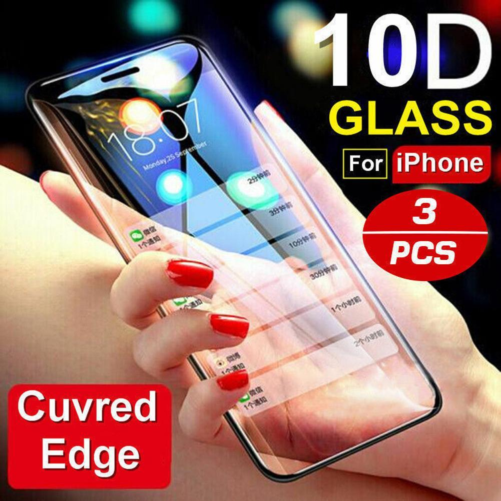 Screen Protectors 1/2/3Pcs 10D Curved Full Tempered Glass Screen Protector for iPhone X XS XR Mobile
